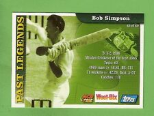 2002 WEETBIX  CRICKET CARD #45  BOB  SIMPSON  /  #58  MICHAEL  SLATER