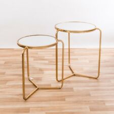 CONTEMPORARY GOLD LEAF METAL ROUND NEST OF 2 SIDE COFFEE TABLES (CMT035)
