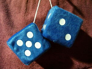 NEW BLUE & WHITE 3 INCH HANGING FUZZY DICE AUTO TRUCK MIRROR 50S ACCESSORY 1