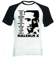 MALCOLM X  NOBODY QUOTE - NEW BLACK SLEEVED COTTON TSHIRT