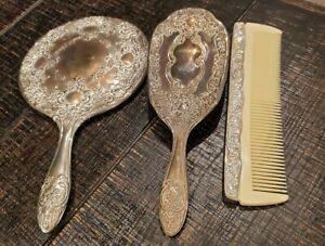 Elegant Vintage Silver-Plated Vanity Dresser Set: Brush, Mirror, & Comb
