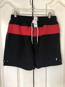 New $105 Polo Ralph Lauren Black Red Swim Trunks shorts Mesh Lined Mens XXL J27