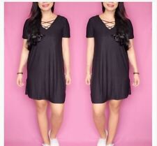COTTON CRISCROSS DRESS - BLACK
