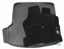 SKODA OCTAVIA 2 HTB / SALOON 05-12 Tailored black floor car mats + boot tray mat