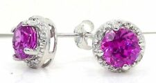 2 Ct Pink Sapphire & Diamond Round Stud Earrings White Gold Silver