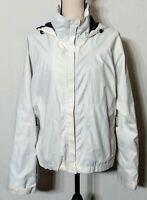 Columbia Women's White Hooded Hiking Jacket Titanium/Omni-Tech Technology Size L