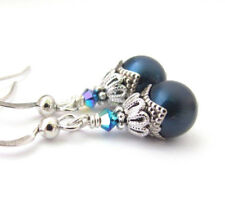 Deep BLUE PEARL EARRINGS DANGLE DROP Victorian Style Steampunk Handmade USA