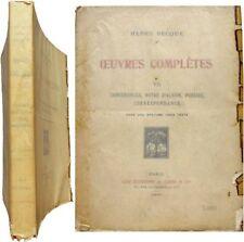 Oeuvres complètes T.VII Conférences poésies correspondance 1926 Henry Becque