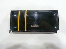NEW SERENADE PATENT GENUINE LEATHER BLACK YELLOW REVERSE HORNET LARGE WALLET