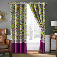 4-Pc Fionn Paisley Floral Stripe Embroidery Curtain Set Green Purple Gray Sheer