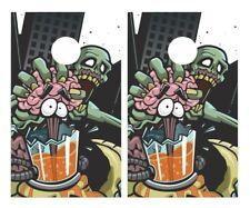 Zombie Crushing Brain Cornhole Board Vinyl Decal Wrap Sticker Skin Funny Joke