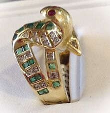 UNIQUE 14kt Yellow Gold Custom Made Emerald Diamond Ruby Cobra Snake Ring