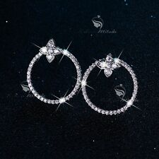Buy Cheap Micro Pave Cubic Zircon White Gold Plate Wedding Bride Hollow Round Earrings A20 Bridal & Wedding Party Jewelry