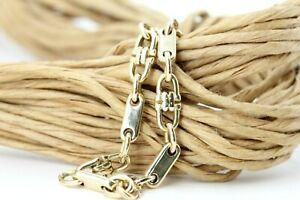 Armband Gold 585 Plattenkette Steigbügel Plättchen Gelbgold 14K Länge 19cm 9,80g