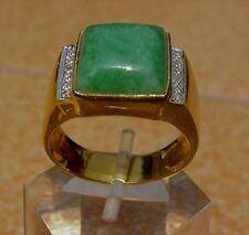 Men's 18K Solid Gold Natural Jade Diamond Ring