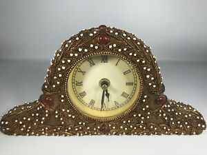 Vintage Enameled Metal Battery Operated Mantle Clock Unique and Beautiful WORKS!