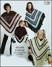 Vintage Knitting/Crochet Pattern • Ladies Girls • Ponchos • Fair Isle & Striped
