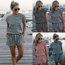 Jumpsuit Striped Short Sleeve Jumpsuits Playsuits For Women Ebay