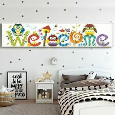 Owl Designs Diamond Painting Colorful Welcome Letters Embroidery Patterns Mosaic