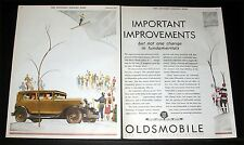 1930 OLD MAGAZINE PRINT AD, SPLENDID OLDSMOBILE AUTOMOBILES ,WEBORG SKI ART!