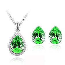 stile Set Gioielli verde scuro CRISTALLO bottoncini a goccia orecchini collana