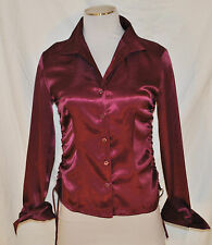 CHIC VTG Wine Shiny Fitted Drawstring Cinch Sides Button Blouse Shirt Top S