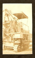 c 1920 Original Photo CEMENT MIXER Road Building Machinery CUTE FLAPPER GIRL