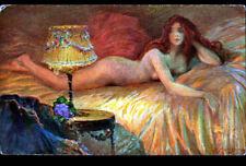 ART - PEINTURE / EVEIL de FEMME Nue par A. MATIGNON / SALON de PARIS début 1900