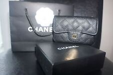 NEW Chanel Black Caviar Card Holder Case Coin Purse Wallet