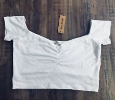 a01dd6bf8ec590 NWT River Island Size UK 10 Small S Bardot Cap Sleeve White Cropped Top