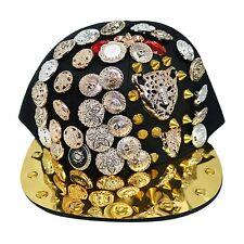 Bling Bboy Caps Hiphop Flat Peak Snapback Baseball Cap Hat (2x-Cat / Black 004)