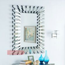 Wall Mirror 3d Sunburst Silver Frame Rectangular Modern Glass