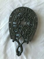 Vintage Wilton Iron Horseshoe Trivet 'Good Luck to All Who Use this Stantd'
