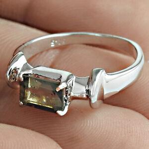 Cushion Shape Smoky Quartz Gemstone Ring Size 8 925 Sterling Silver Jewelry M13