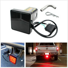 "2"" Trailer Hitch Receiver Cover with 12 LED Tail Brake Light Tube Cover w/ Pin"