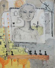 BRIGITTE VIERKANT-German Modernist -Portrait w/Cityscape/Billboard Painting