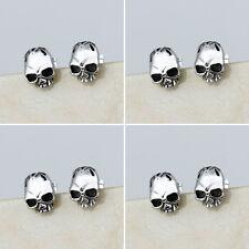 4 Pair/Lot Fashion Stainless Steel Silver Skull Men Ear Stud Earrings Wholesale