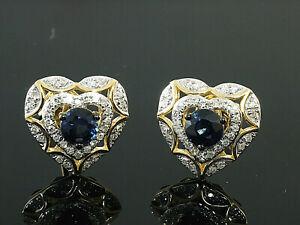 585 Gold  Herz Diamant Ohrstecker mit Saphir  72 Diamanten  1 Paar