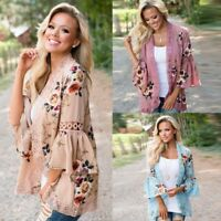 2019 Womens Long Sleeve Lace Up Floral Kimono Cardigan Blouse Casual Jacket Tops