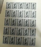 Vintage Sheet of 25 Stamps WWII Belgium #614 Belgique Belgie TB 60+10C