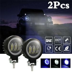 2Pcs  3.5in LED Fog Light Headlamp Car Truck Blue Angel Eye DRL Lamp 60W 6000LM