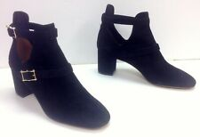 VALENTINO NWOB Black Suede Studded Buckle Cutout Hitch On Ankle Boot Sz 40 B4962