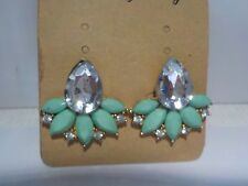 green enamel and clear Crystal and gold fashion earrings for pierced ears.