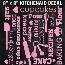 "KITCHENAID MIXER DECAL SHEET 8"" x 8"" WRAP VINYL WORDS BAKING CUPCAKE SUBWAY TEXT"