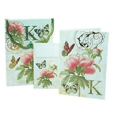 PUNCH STUDIO FLORAL MONOGRAM POUCH NOTE CARDS- #56976K (K)
