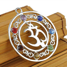for Necklace Natural Chakra Healing Point Reiki 7 GEMSTONE Beads Pendant Gift OM Symbol