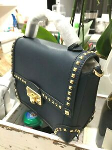 Michael Kors Eldrige Stud Small Top Handle Trunk Satchel Messenger Bag Navy Blue