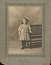 c1890 Mounted Photograph of Little Girl / Lady Standing by Bench, Providence RI