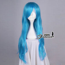 80CM Long Wavy Hair Women Light Blue Synthetic Cosplay Wig Heat Resistant