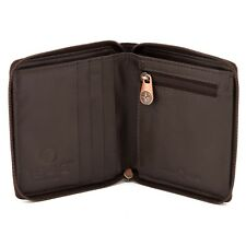 Genuine Brown Leather Mens Wallet with Zip Around Fastening by 1642 - RRP £20.00